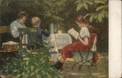 Woman Seated with Boy and Girl at Outdoor Table