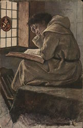 Monk Wearing Religious Tunic Intensely Reading Large Book