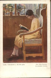 Girl in Yellow Dress Seated in Chair Reading Book