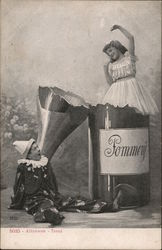 Party Time - Girl in Giant Champagne Bottle and Clown