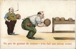 Cartoon of man spitting on bowling ball
