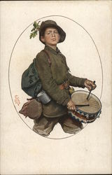 Boy Soldier with Gear Marching and Playing Drum