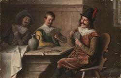 Three Men Playing Cards at Table