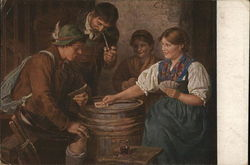 Two Men and Two Women Playing Cards Atop Barrel