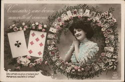 Woman Smiling from Within Wreath of Cards and Flowers
