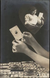 Hands Holding Ace of Hearts, Inset of Woman Reading Letter Postcard