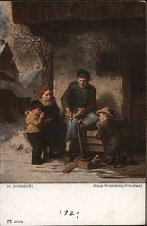 Man Carving Wood While Three Children Watch