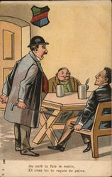 Man Talking to Two Men Seated with Drinks