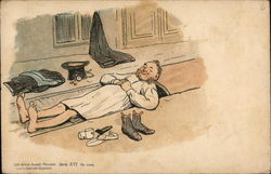Man Laying Down Near Hat, Clothes and Shoes