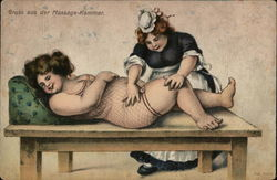 Heavy-Set Maid Massaging Overweight Woman on Table