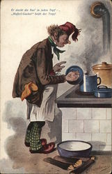Man Wearing Apron at Stove with Blue Cookware, Holding Lid