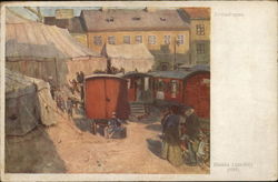 Circus Wagons and People Near Large Tents and Buildings