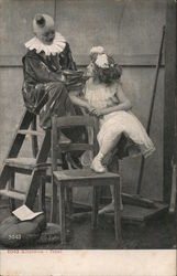 Clown Seated Atop Ladder Near Young Woman and Chair
