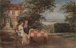 Man with Arm Around Woman at Outdoor Table w/Tea