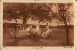 Five People Near Picnic Table, Servant Carrying Tray