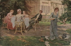 Man at Table with Women Watching Woman Feeding Chickens
