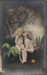 Nude Boy and Girl Kissing Near Tree