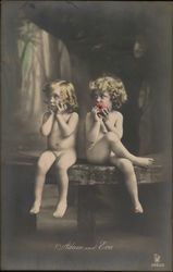Two Nude Blond Children Seated on Table