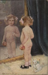 Nude Girl with Toy Bear Standing at Mirror
