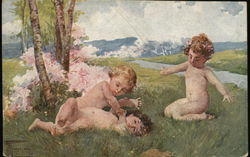 Three Nude Young Children Playing on Grass Near Tree