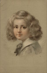 Blond Child with White Collar and Bow