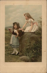Two Young Girls Playing in Field with Basket of Flowers