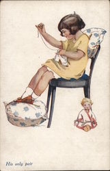 Young Girl Seated In Chair Sewing, Doll Nearby