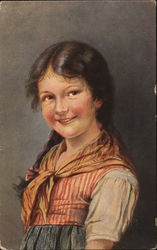 A young girl smiling