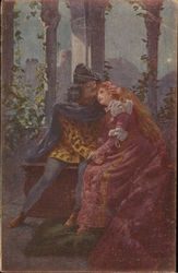 Man and Woman with Long Red Hair Holding Hands Postcard
