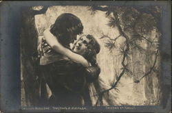 Woman Gazing at Man as They Embrace Postcard