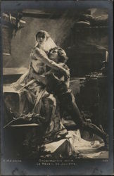 Seated Woman Embracing Kneeling Man Postcard