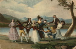 Men and Women in Colonial Period Clothing Dancing in Circle