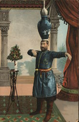 Man in Blue Tunic Balancing Vases on Head