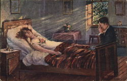 Man with Face in Hands at Bedside of Woman