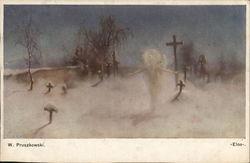 White Spiritual Creature Near Crosses Marking Grave Sites