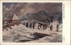 Group of People, Some Carrying Coffin Through Snow