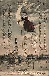 Woman in Crescent Moon with Telescope Above City