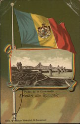 Romania Flag Over Inset of Bridge Over Water