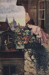 Man Serenading Woman in Window Near Flowers Postcard
