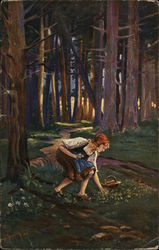 Blond Girl Gathering Flowers in the Forest
