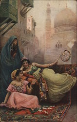 Women In Harem, Lounging, Playing Cards