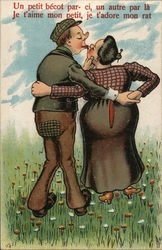 Man and Woman Kissing as Seen from Behind Postcard