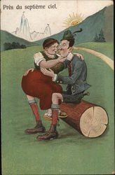 Man and Woman Seated on Log Kissing Postcard