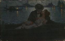 Man and Woman Kissing in Boat in Darkness Postcard
