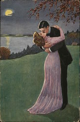 Man and Woman Embracing, Kissing Near Moonlit Water Postcard