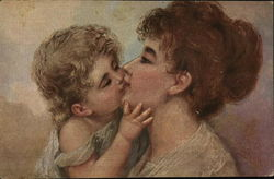 Blond Child Kissing Young Woman