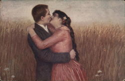 Man and Woman Kissing, Embracing in Field Postcard