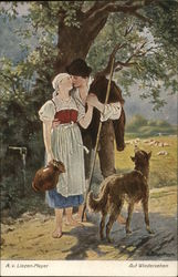 Young Man Kissing Young Woman Holding Pitcher Under Tree