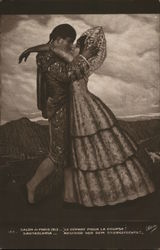 Man and Woman in Ornate Clothing Kissing Postcard