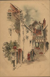 Woman and Man with Cane on Walkway Near Houses
